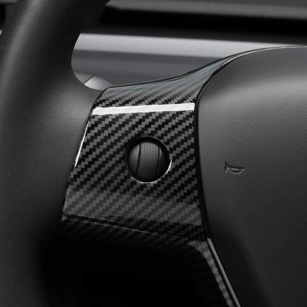 L/&U Auto-Lenkrad dekorative Patch f/ür Tesla Model 3 2017-2019 ABS Lenkrad Zubeh/ör Zierrahmen Patch,Carbonfiber