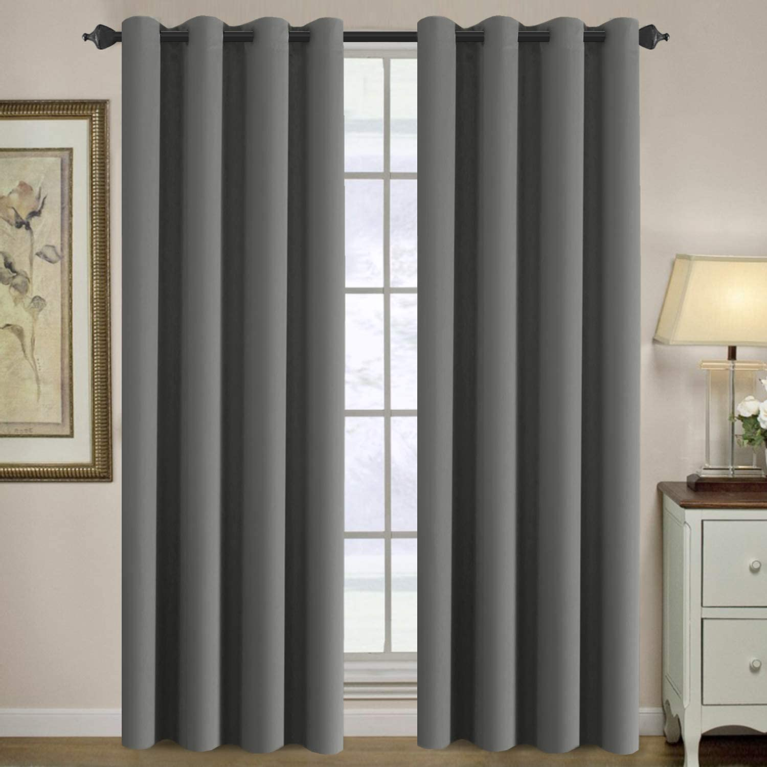 H.VERSAILTEX Blackout Curtain for Living Room Thermal Insulated Window Treatment Curtain Extra Long 108 inch Length Energy Saving Solid Grommet Top Blackout Drape, One Panel, Grey