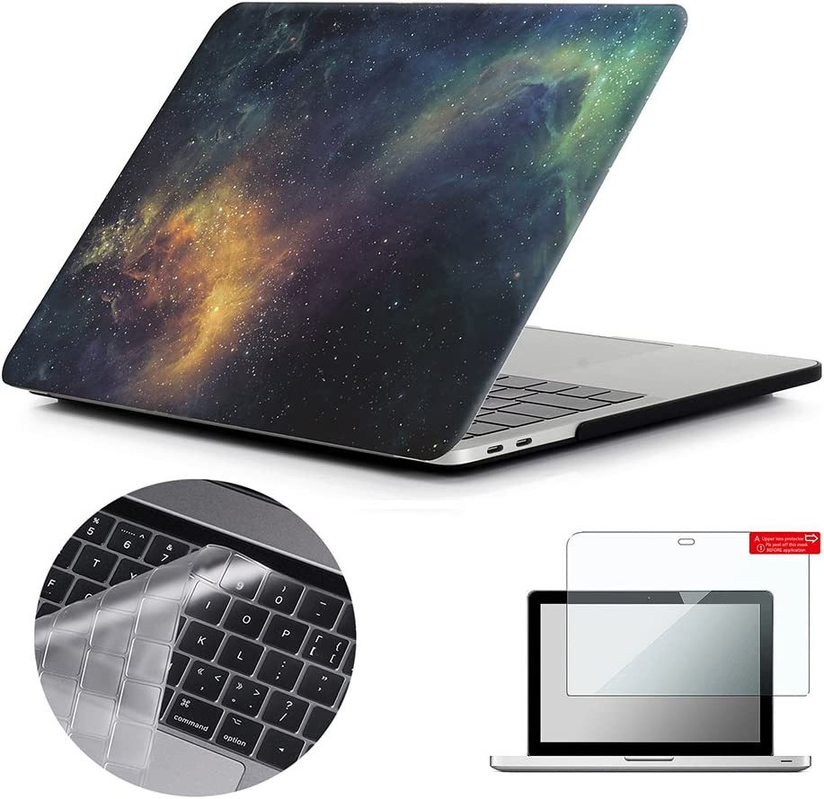 Se7enline MacBook Pro 13 inch Case Hard Shell Case for MacBook Pro 13-inch with/Without Touch Bar Model A1706/A1708/A1989/A2159 2016-2019 with Keyboard Cover, Screen Protector, Galaxy Space Universe