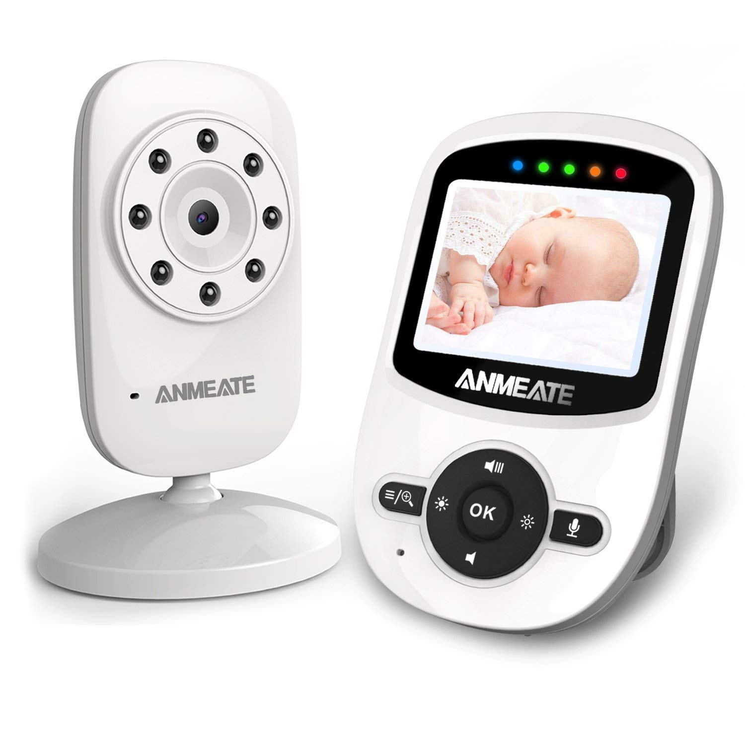 Video Baby Monitor with Digital Camera, ANMEATE Digital 2.4Ghz Wireless Video Monitor with Temperature Monitor, 960ft Transmission Range, 2-Way Talk, Night Vision, High Capacity Battery (SM24-CA)