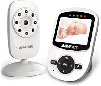 Video Baby Monitor with Digital Camera, ANMEATE Digital 2.4Ghz Wireless Video Monitor with Temperature Monitor, 960ft Transmission Range, 2-Way Talk, Night Vision, High Capacity Battery (White)