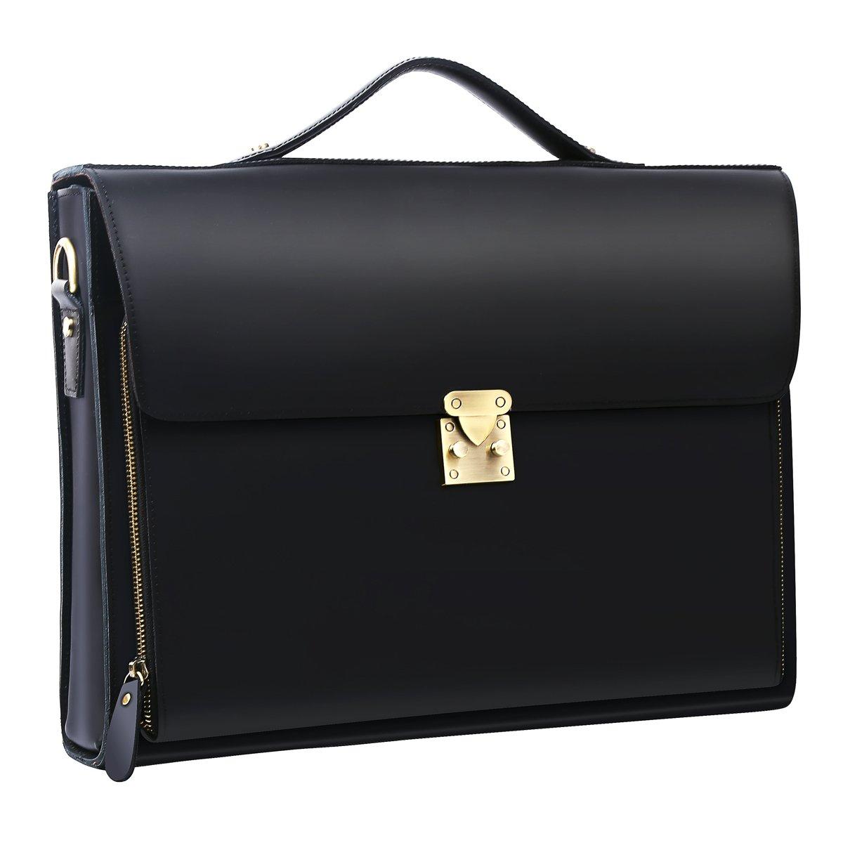 Leathario Leather Briefcase for Men Leather Laptop Bag Shoulder Messenger Bag Business Work Bag (Black-274)