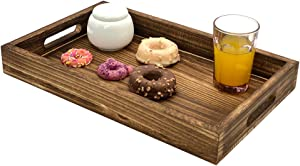 HeyMal Large Serving Tray Wooden Rustic Serving Platter, 16.5 x 10 Inch Rectangle Serving Tray with Handles Fruit Food Breakfast Coffee Cupcake Decorative Dinner Party