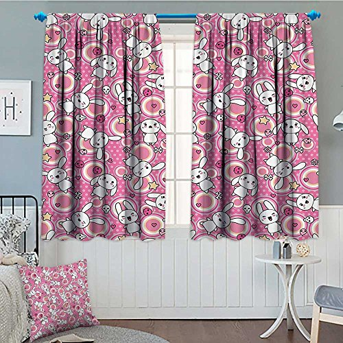 lacencn Anime Patterned Drape For Glass Door Funny Kawaii Illustration with Rabbits Funky Cute Animals Bunnies Kids Humor Print Waterproof Window Curtain 52