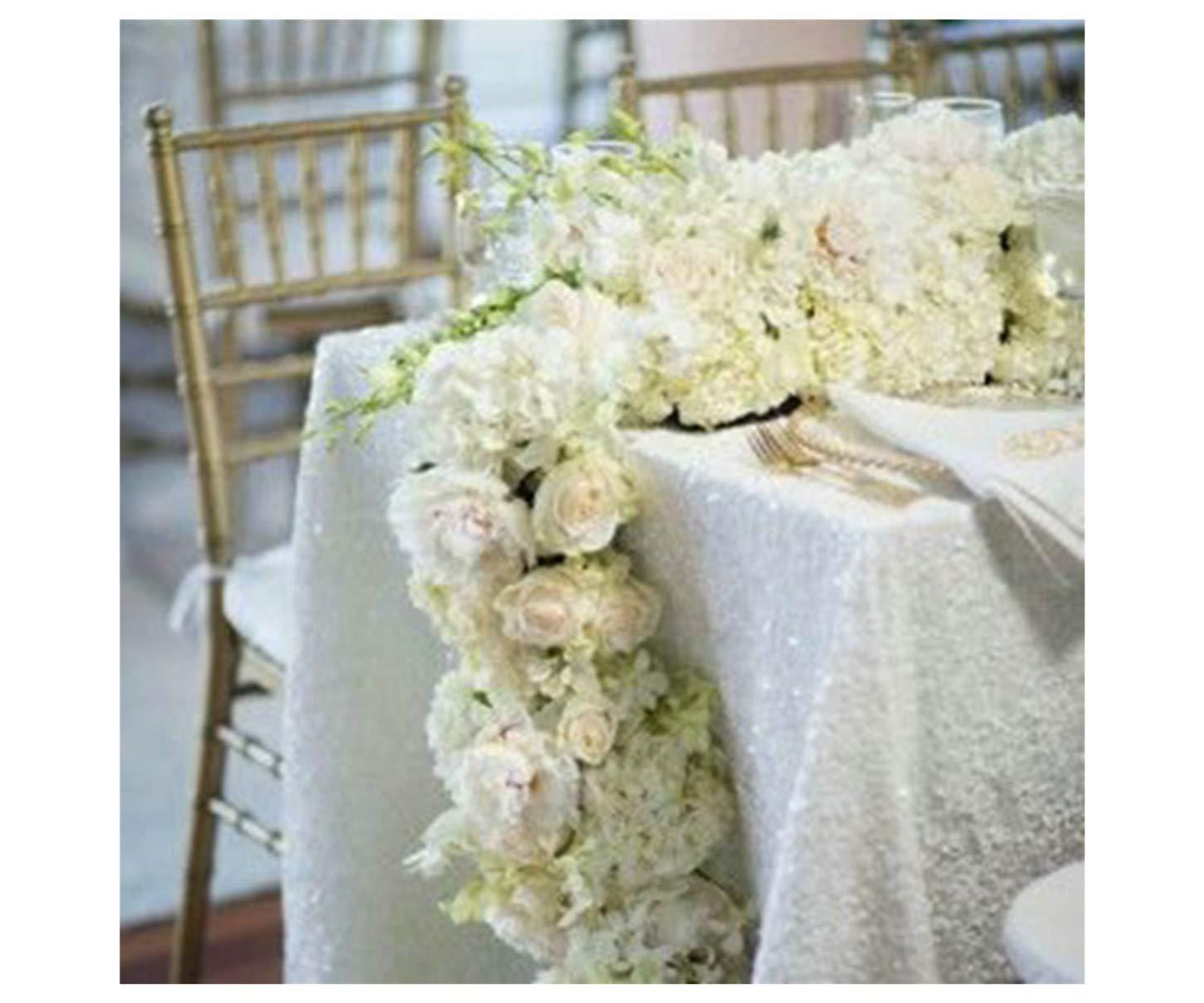 ShiDianYi 90 x 132-inch -長方形スパンコールウェディング/パーティー/イベント/Chrismasの装飾tablecloth- 90x132-Inch 14193413  ホワイト B06XRWK68C