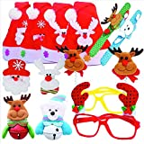 12 Pack Christmas Santa Hat LED Light Up Party