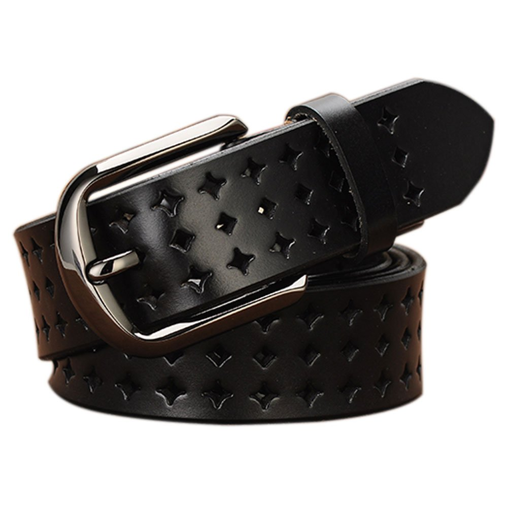 Genuine Leather Belts for Women Hollow Out Design, Vonsely Soft Leather Womens Belts with Pin Buckle, Black Leather Belt