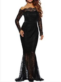 Vicokity Sexy Mermaid Evening Dresses Boat Neck Long Sleeve Lace Prom Party Dress