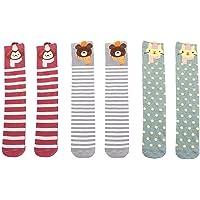 KESYOO 3 Pairs Winter Striped Stockings Cotton Warm Knee High Socks Cartoon Lovely Socks for Kids Children Girls