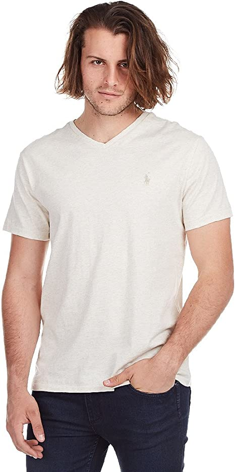 Polo Ralph Lauren Mens Classic Fit V-Neck T-Shirt Cotton (Small, Chalk Heather)