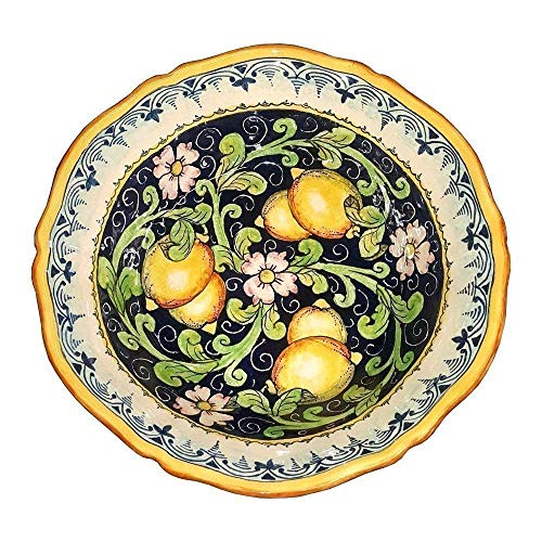(CERAMICHE D'ARTE PARRINI - Italian Ceramic Art Pottery Bowl For Fruit,Salad, Pasta Hand Painted Made in ITALY Tuscan )