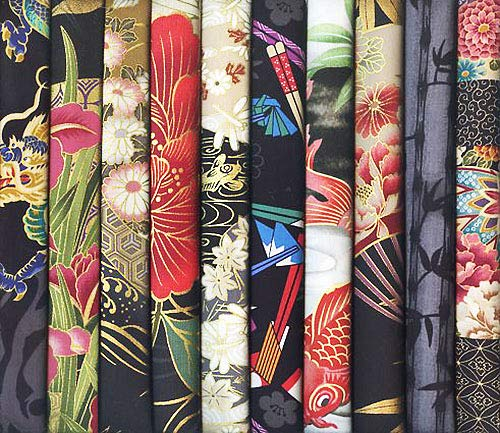 (10 Black Asian Japanese Fat Quarter Quilt Fabric Bundle #31 (2 1/2 Yards Total))