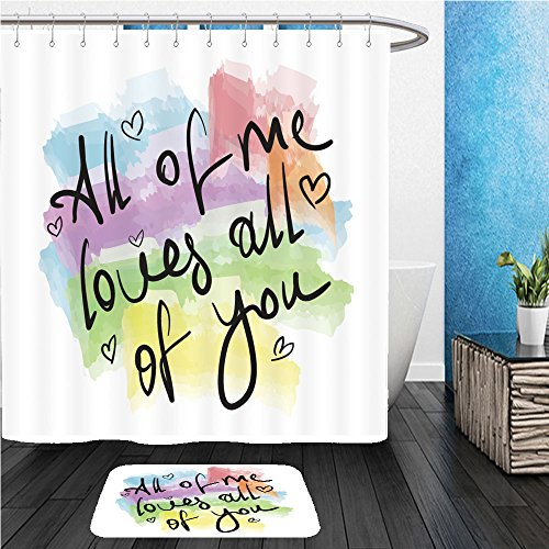 Beshowereb Bath Suit: ShowerCurtian & Doormat all of me loves all of you romantic love quote note as greeting card postcard poster sticker - For Me Versace