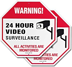 """Video Surveillance Signs Outdoor for Private Property Yard Home Security System – 11.8"""" x11.8"""" 40Mil Rust Free Aluminum 24 hour Warning Metal Surveillance Camera Sign - 2 Pack"""