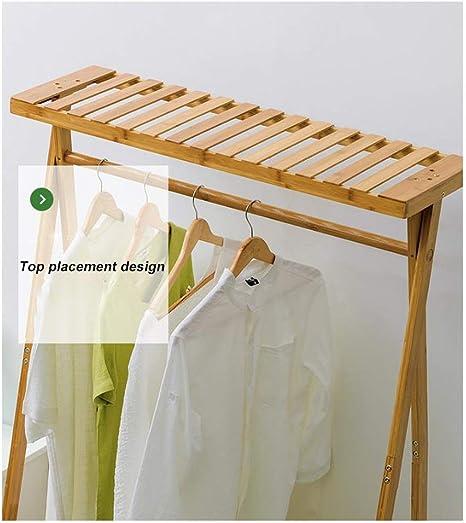 SDFGH Perchero, 2 Capas de Ropa de bambú Rack Coat Ropa Riel ...