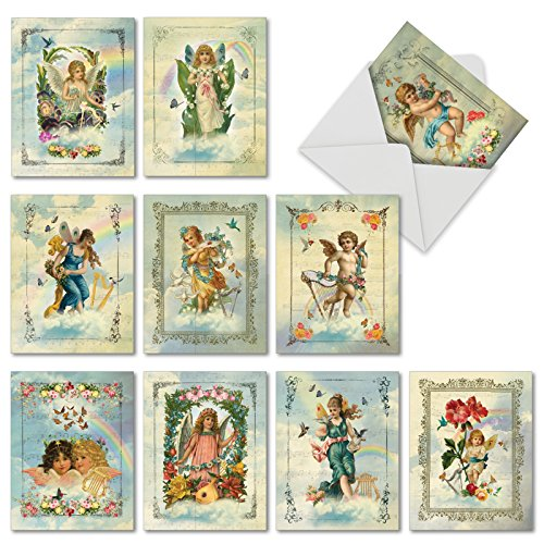 Angelic Notes: 10 Assorted Blank All-Occasion Note Cards Featuring Heavenly Angels Beautifully Framed With Flowers, Musical Instruments and Birds, w/White Envelopes. (Victorian Musical Boxes)
