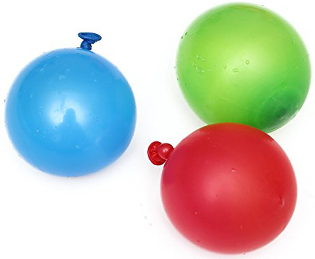 """Cool & Fun {120 Count Pack} of 3"""" - 6"""" Inch """"Standard Size"""" Water Balloon Bomb Grenades Made of Latex w/ Non-Staining Dye Filled Burst Design {Red, Blue & Green} w/ Screw On Hose Attachment"""