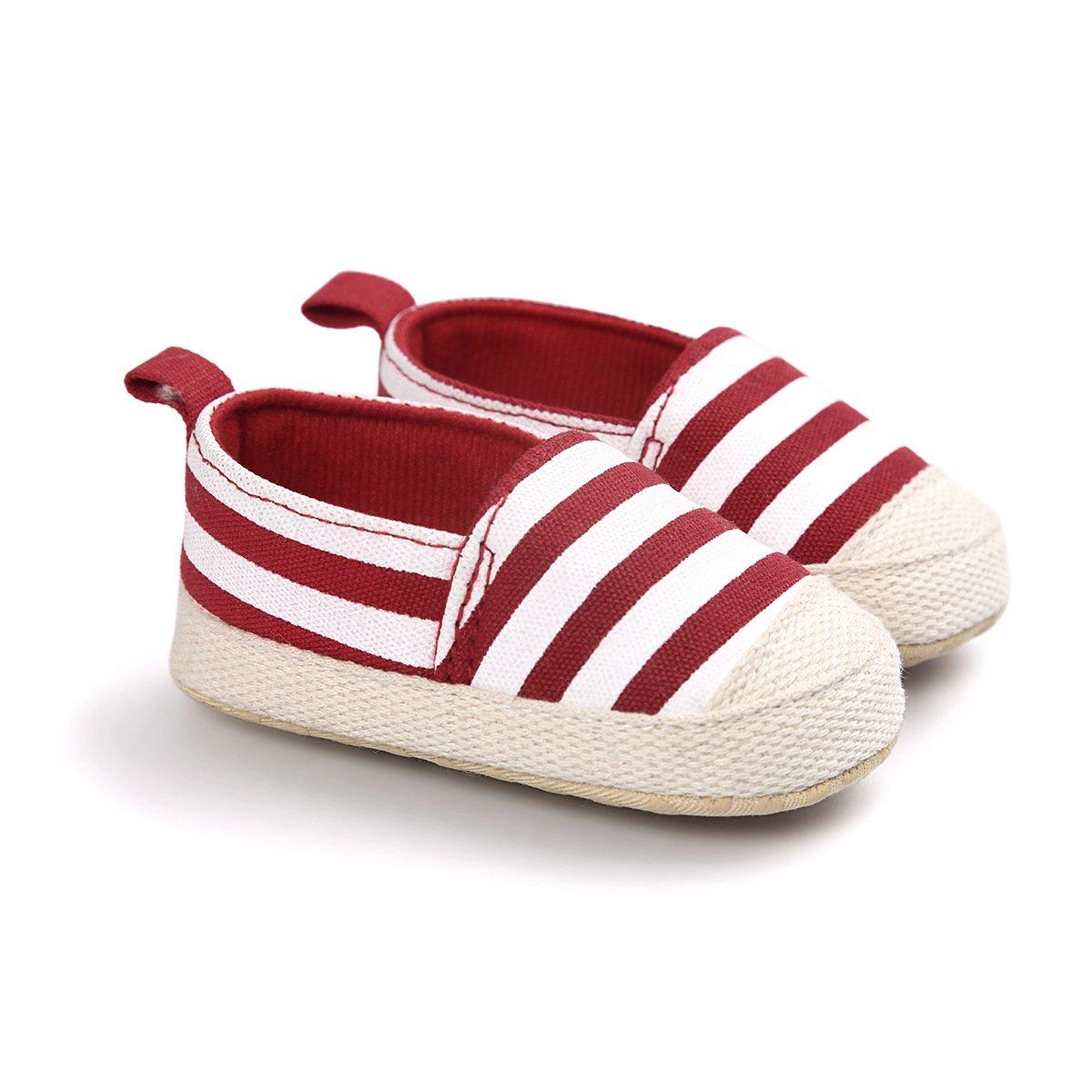 Chickwin Primeros Pasos Raya Ni/ño y Ni/ña Antideslizante Zapatillas Bebe Bautizo Cuna Suela Blanda Zapatos Recien Nacido