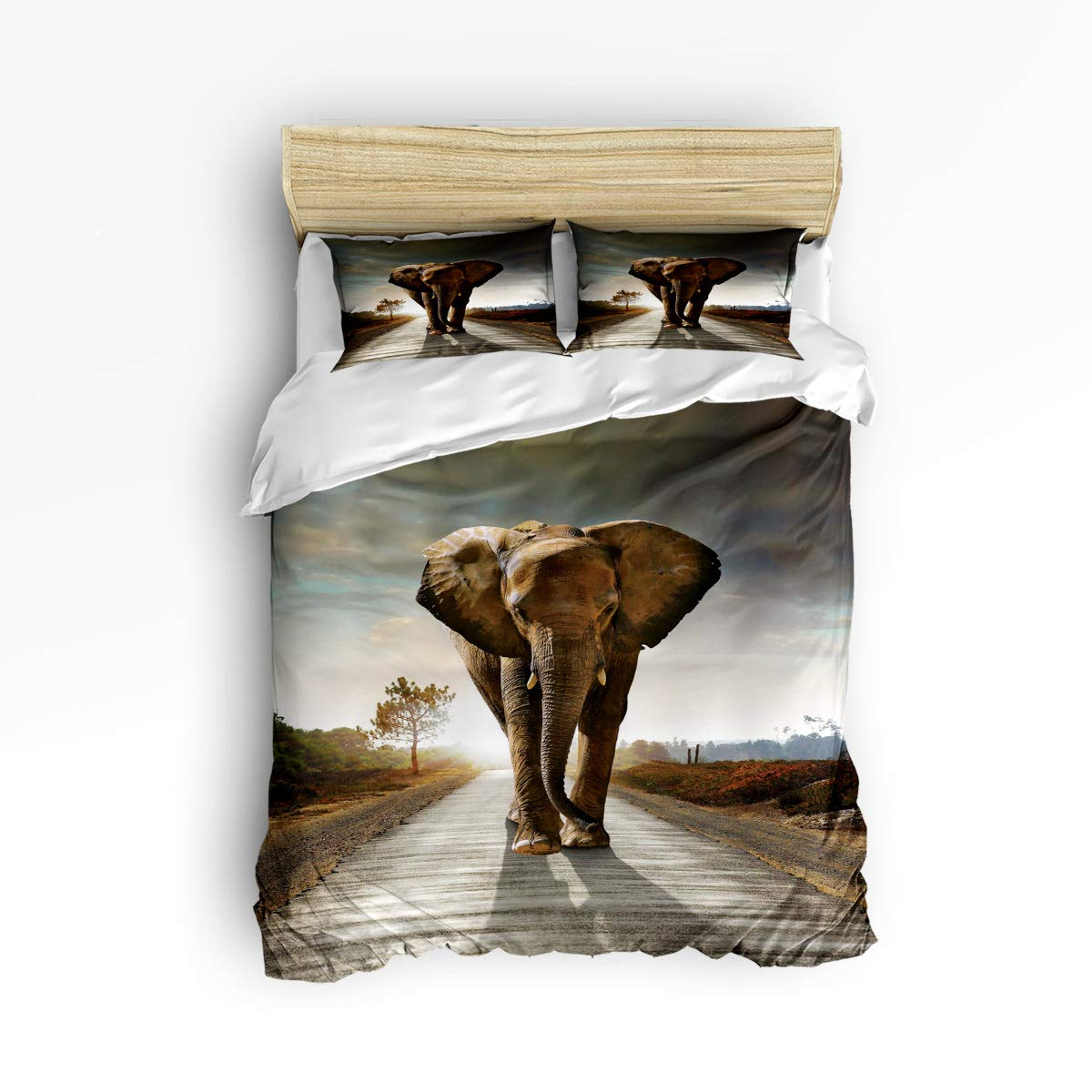 YEHO Art Gallery King Size 3 Piece Duvet Cover Set Super Soft Bedding Sets for Kids Boys Girls,The Landscape of Elephant Art Prints,Include 1 Comforter Cover and 2 Pillow Cases