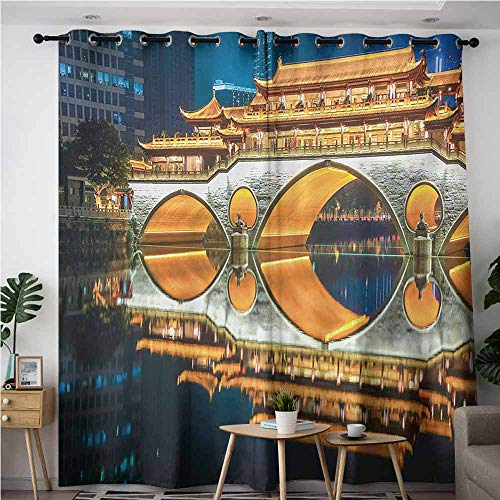 AndyTours Grommet Window Curtains,Landscape,Major Popular Big Bridge in Chinese City Monumental Classic Building Tower Photo,Blackout Draperies for Bedroom,W120x96L,Multicolor]()