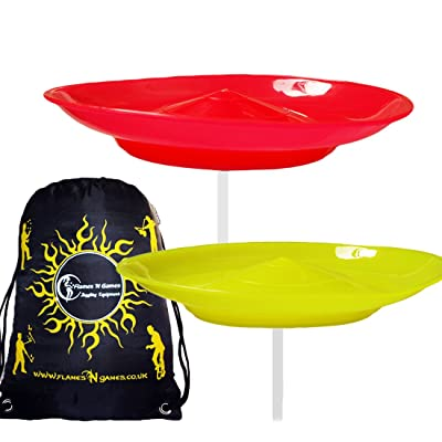 2x Spinning Plate Set (Red/Yellow) CLASSIC Circus Spinning Plates + 2-Piece Plastic Sticks+ Flames N Games Travel Bag! Great fun for Kids & Adults.: Toys & Games