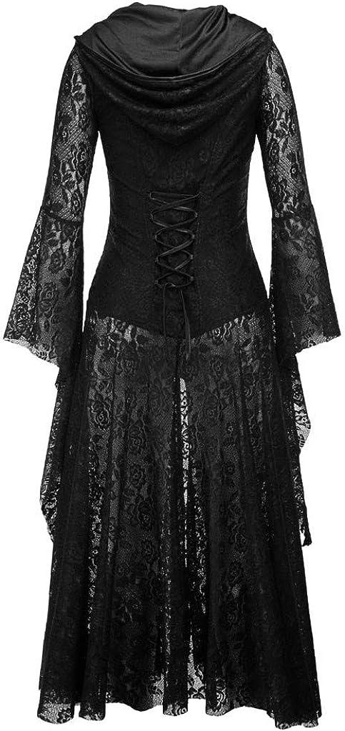 Cardith Damen Langarm Mittelalter Kleid Hexenkost/üm Umh/änge Vampir Umh/änge V-Ausschnitt Gothic Viktorianischen Prinzessin Renaissance Bodenlanges Kapuzenkleid