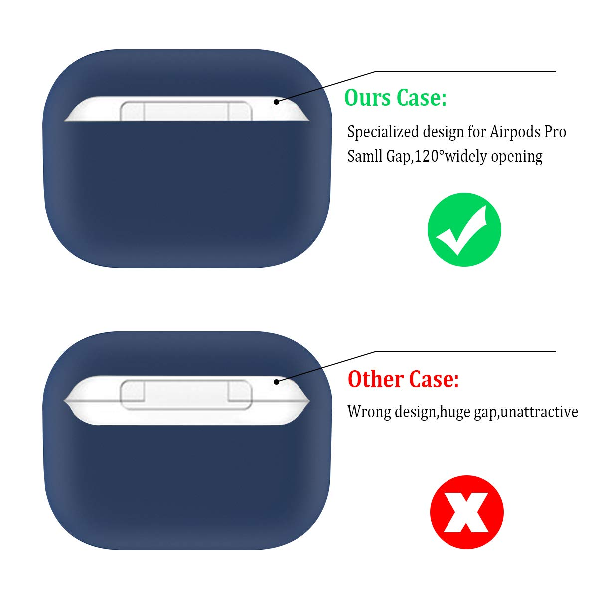 Wont Affect Wireless Charging Dark Blue HATALKIN Case Compatible with Airpods Pro Case Premium Silicone Airpod Pro Case Protective Cover for Airpods 3 Front LED Visible