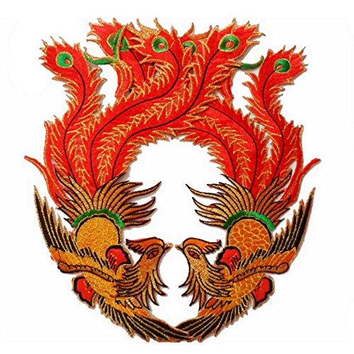 [1pair Exquisite Embroidery Phoenix Bird Patches Cloth Paste Wedding Cheongsam Motif Applique DIY Clothing Accessories(Green] (Phoenix Costume Diy)