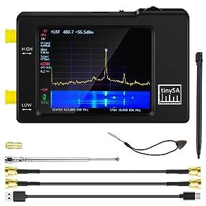 Portable tinySA Spectrum Analyzer, AURSINC Hand Held Frequency Analyzer MF/HF/VHF UHF Input for 0.1MHZ-350MHz, UHF Input for 240MHz-960MHz, Signal Generator with 2.8 inch Touch Screen Battery