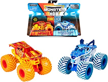 Amazon Com Mj 2019 Monster Jam Fire Ice Max D And Monster Mutt Dalmatian Special Edition Toys Games