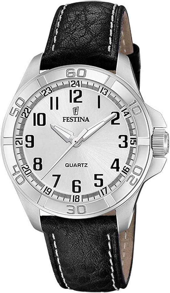 Reloj Festina Hombre Esfera Plateada 44 mm Correa de Piel Negra F20444/3
