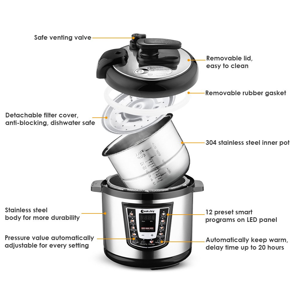 Multifunction Electric Pressure Cooker 6 Litre 8-in-1 Programmable Multi-Cooker with Stainless Steel Inner Pot by COOK JOY (Image #2)