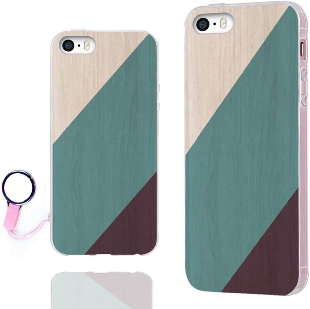 iPhone SE Case,iPhone 5S Case,iPhone 5 Case,ChiChiC Full Protective Case Slim Flexible Soft TPU Gel Rubber Cases Cover for Apple iPhone 5/5S/ SE 2016,Geometric Green Blue Teal Purple Brown Wood Grain