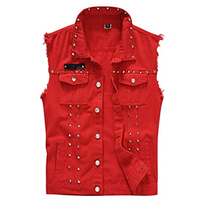 HUPOO Men's Trendy Punk Denim Vests Lapel Studded Rivets Frayed Jean Jackets Waistcoats Gilet at Men's Clothing store