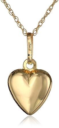 Amazon 14k yellow gold petite puff heart pendant necklace 18 14k yellow gold petite puff heart pendant necklace 18 mozeypictures Choice Image