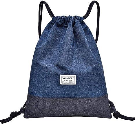 Azul Luxja Bolsa de Cuerdas Bolsa de Deporte Bolsa de Viaje Bolso Ligero Mochila de Gimacion Bolsa para Ni/ños