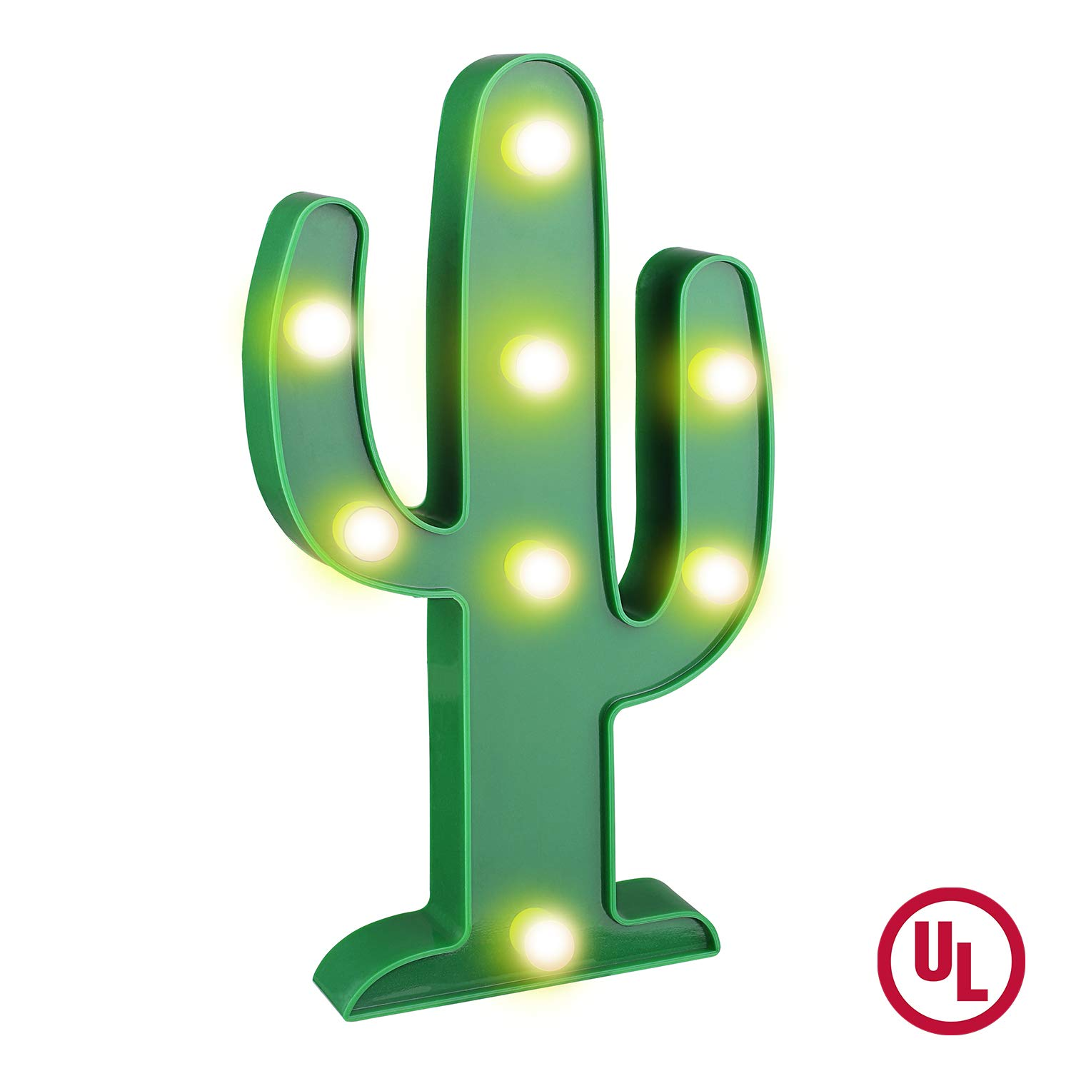 YiaMia LED Cactus Light Cute Night Table Lamp Light for Kids' Room Bedroom Gift Party Home Decorations Green