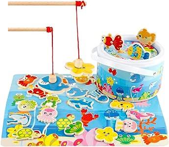 Blesiya Toddler Wooden Magnetic Fishing Pole Game Montessori Toys,Go Fish Ocean Animals Gaming Gift