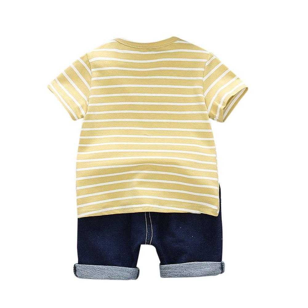 Yooan Baby Boys Summer Outfits Clothes Cartoon Print Short Sleeve T-Shirt Tops+Shorts Pants Set