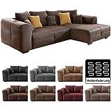 Wohnlandschaft Cassia 290x213cm Braun Antiklederoptik Couch Sofa