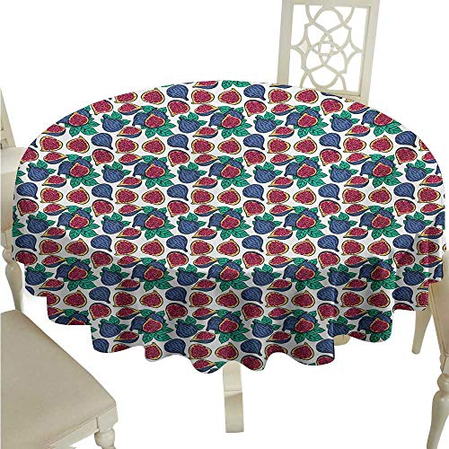 Festive Vanilla Fig - Willsd Round Tablecloth Fig Hand Drawn Style Pattern of Ripe and Juicy Fig Fruit Cut in Half with Green Leaves Washable Tablecloth D50 Suitable for picnics,queuing,Family