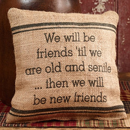 Burlap Pillow - We Will Be Friends 'Til We Are Old And Senile... Then We Will Be New Friends - 8