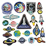 Dandan DIY Random 20pcs Kid Embroidered Patch Sew On/Iron On Patch Applique Clothes Dress Plant Hat Jeans Sewing Flowers Applique Diy Accessory Rocket Universe Starry Sky Nave Espacial (Universe)