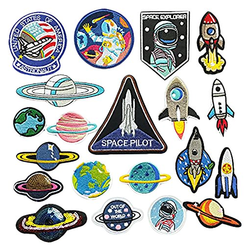 Rocket Applique (Dandan DIY Random 20pcs Kid Embroidered Patch Sew On/Iron On Patch Applique Clothes Dress Plant Hat Jeans Sewing Flowers Applique Diy Accessory Rocket Universe Starry Sky Nave Espacial (Universe))