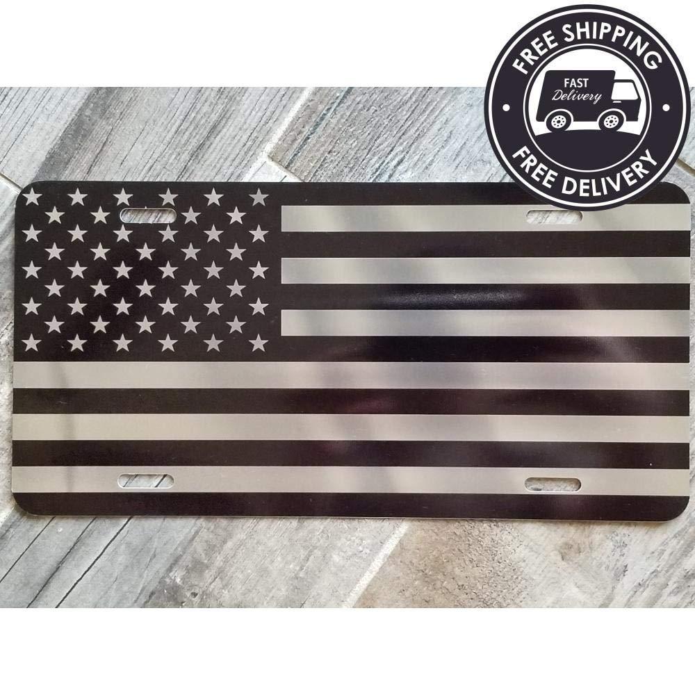 OldsNewAgain Reflective Tactical US American Flag Brushed Aluminum License Plate Metal Car Tag Refractive
