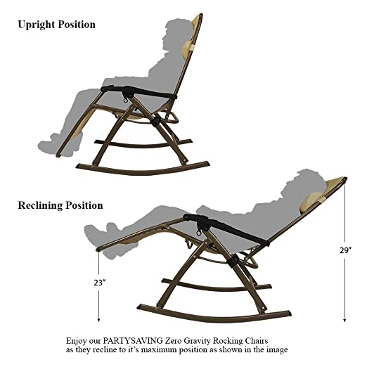 Amazon.com : PARTYSAVING Infinity Zero Gravity Rocking Chair Outdoor Lounge  Patio Folding Reclining Chair APL1270, Tan : Garden U0026 Outdoor