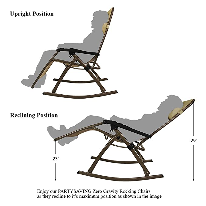 Amazon.com : PARTYSAVING Infinity Zero Gravity Rocking Chair Outdoor Lounge  Patio Folding Reclining Chair APL1271, Brown : Garden U0026 Outdoor