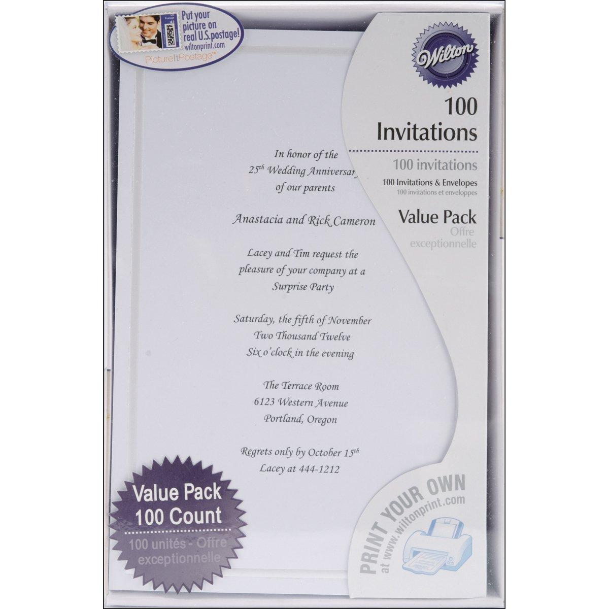 Wilton 1008-658 100 Single Border Invitation, White