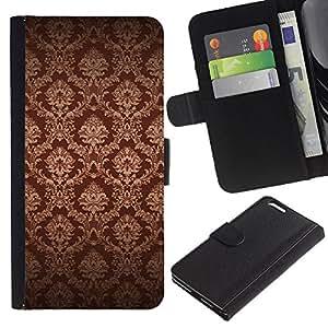 Planetar® Modelo colorido cuero carpeta tirón caso cubierta piel Holster Funda protección Para Apple (5.5 inches!!!) iPhone 6+ Plus ( Fondo de pantalla de Brown Bling Royal Vintage )