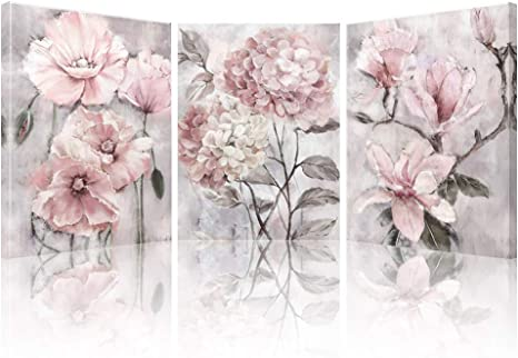 Amazon Com Lamplig Pink Wall Art Flowers Canvas Prints Floral Pictures Gray Modern Romantic Artwork Blush Bloom Painting Stretched Framed For Bathroom Living Dining Room Bedroom Home Decor 12 X 16 3